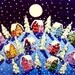 Peace on Earth Silent Night Winter Snow Moon Painting Whimsical Original Folk Art