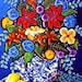 Summer Bouquet Blue Print Colorful Whimsical Flowers Folk Art Canvas Print