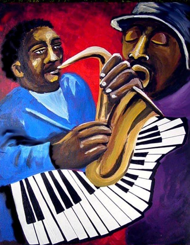 jazz blues musicians african american folk art fine art giclee. Black Bedroom Furniture Sets. Home Design Ideas