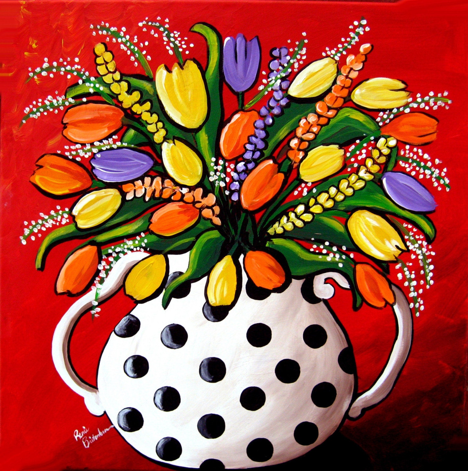 Colorful Art: Tulips And Spring Flowers Whimsical Colorful Folk Art Giclee