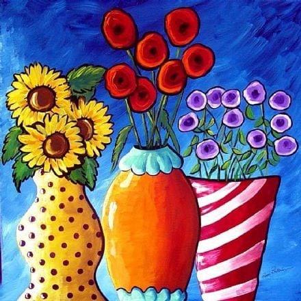 COLORFUL FLOWER VASES Folk Art Giclee Canvas Print
