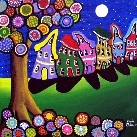 Whimsical colorful trees blossoms houses folk art giclee print for Colorful tree house