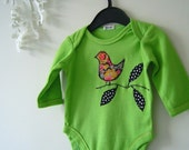 Bird applique onesie 0-3 months