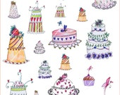Paper Digital sheet Printables Collages 6 CAKES Part II- Illustration-Download and print-300 DPI