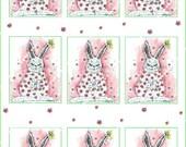 DIY Digital sheet  pink rose Bunnies shabby chic paper label tag Illustration-Download and print-300 DPI