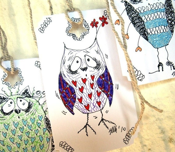 Handmade Gift HangTags - WEIRD OWLS Mix (set of 5)
