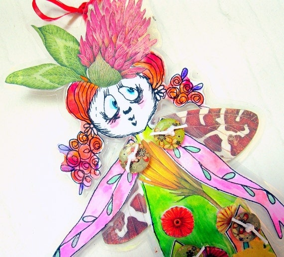 Mixed Media OOAK Paper Art Doll-Chameleon Fairy