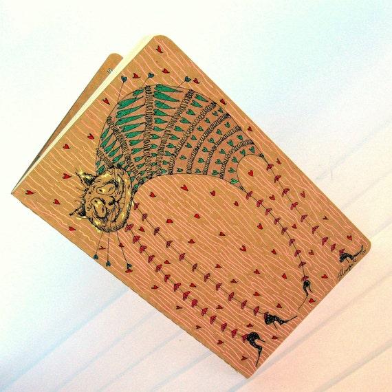 DISCOUNT-I Love Cats- OOAK hand drawn moleskine notebook