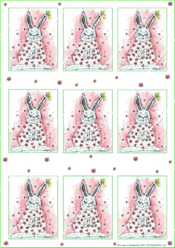 DIY Digital sheet  pink rose Bunnies shabby chic paper label tag Illustration-Download and print-300 DPI