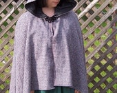 Pink and Blue Woven Wool Cape
