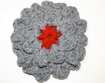 Handmade Scarlet and Grey Crochet Flower Pin