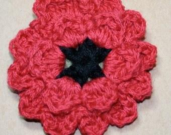 Handmade Red and Black Poppy Crochet Flower Pin