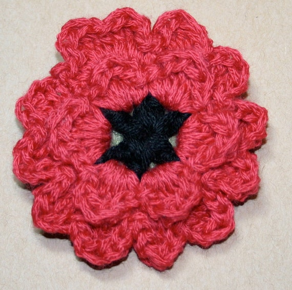 Handmade Red and Black Poppy Crochet Flower Pin