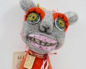 Mohair Wool and Clay designer plush needle felted Lil Outsider hanging art doll animal