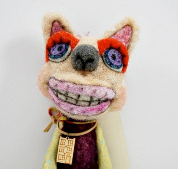 Mohair Wool and Clay Lil Outsider hanging art doll animal