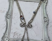SALE....Vintage Rhinestone Garnet and  Pearl Assemblage Necklace...Perfect Little Bow
