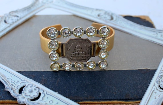 Vintage Rhinestone Buckle and French Finding Cuff Style Assemblage Bracelet... Isabella