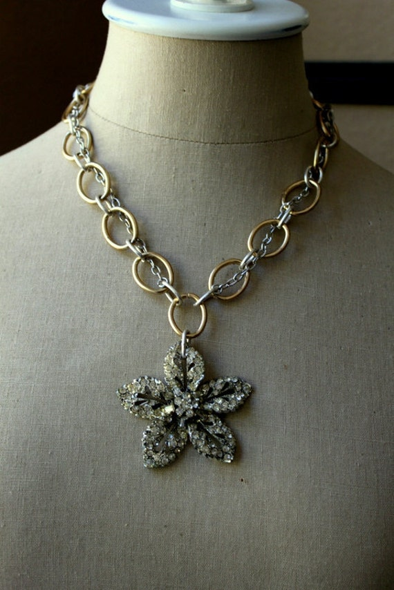 Vintage Rhinestone and Brass Assemblage Necklace...ON SALE