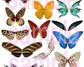 Printable Butterfly Wings Collage Sheet Blue Pink Yellow Fairys Image Transfers Digital Downloads Paper Dolls Vol 4