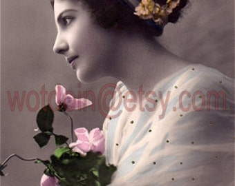 Digital Scan Vintage Postcard Lady with Pink Flowers