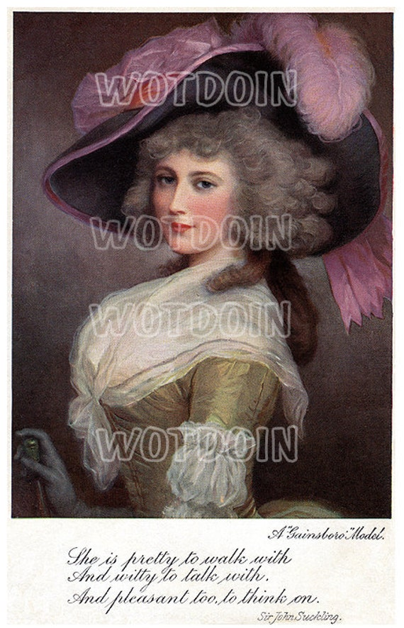 Paris Marie Antoinette Fashion Feather Hat French Coiffure Printable Digital Postcard