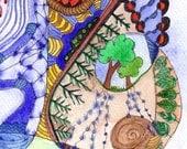 Original watercolour painting, Blue Eyed Snail, by melanie j cook.