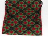 Hand stitched cotton drawstring bag, tarot bag, masculine, plaid, Black Cherries by melanie j cook