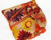 Hand stitched cotton drawstring bag, tarot bag, Brown Paper Daisies by melanie j cook
