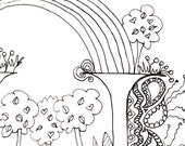 Monogram - H - Initial, Colour-Me-In Illuminated Letters, original art  drawings by melanie j cook