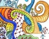 Illuminated Letters - C, original watercolor painting by melanie j cook