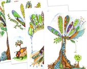 Tree of Life, set of 4 postcards of original paintings by melanie j cook