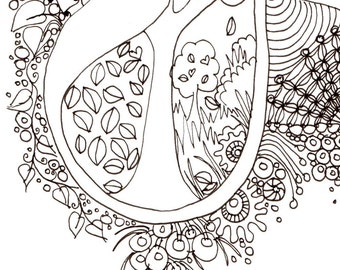 Monogram - J - Initial, Colour-Me-In Illuminated Letters, original art  drawings by melanie j cook