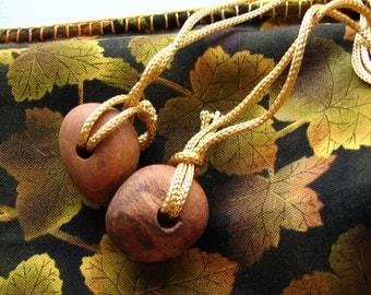Golden Vines - hand stitched cotton drawstring bag