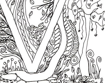 Monogram - V - Initial, Colour-Me-In Illuminated Letters, original art  drawings by melanie j cook