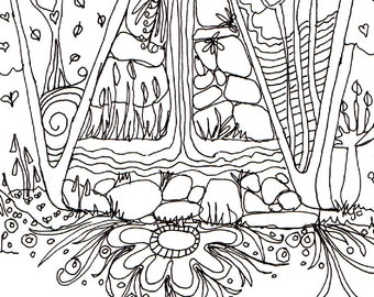 Monogram - W - Initial, Colour-Me-In Illuminated Letters, original art  drawings by melanie j cook