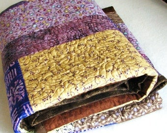 Quilt, single bed, handmade, patchwork, purple and brown, A Glass and a Half by melanie j cook, for wiccked