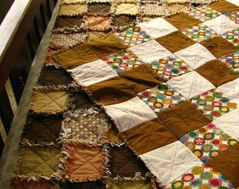 Quilt, Rag Quilt, Reversible, Queen Size, Fallow Fields, by melanie j cook