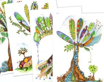 Tree of Life, set of 4 postcards of original paintings by melanie j cook