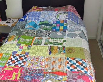 Quilt, single bed, handmade, patchwork, multicolour, Graduated Rainbow by melanie j cook, for wiccked