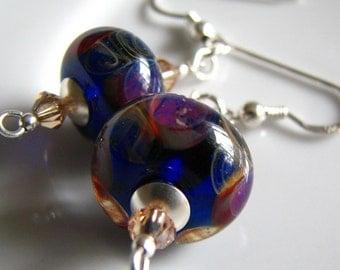 Iris - Purple lampworked earrings, sterling silver, swarovski crystal