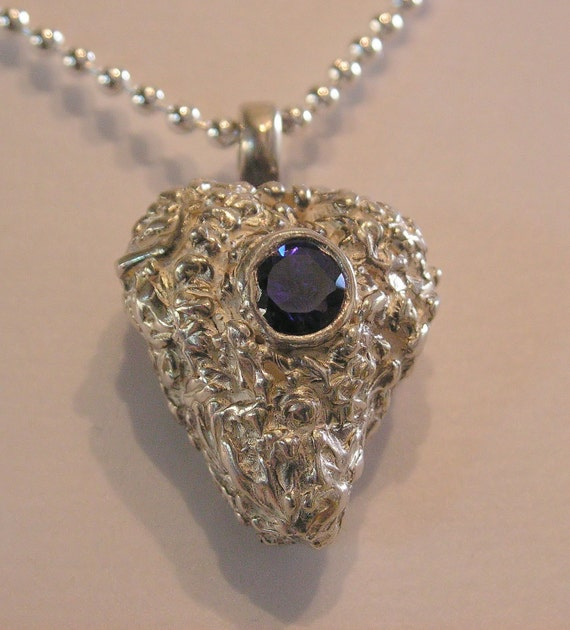 Necklace, pendant, fine silver, sterling silver ball chain, amethyst colored cubic zirconia, Purpleberry, by melanie j cook, for wiccked