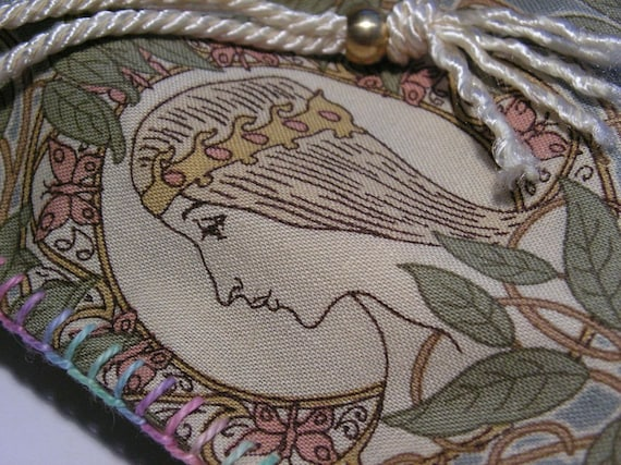 Hand stitched cotton drawstring bag, tarot bag, lined, pastels, Avalon, by melanie j cook