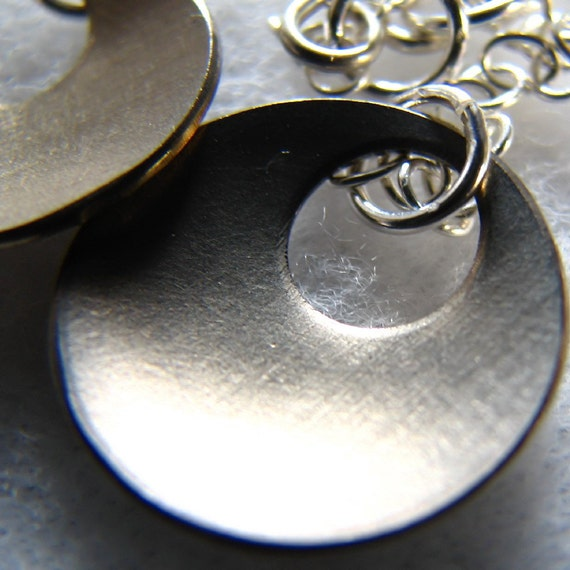 Earrings, titanium and sterling silver earrings. Upcycled. A Bowl of Fresh Air, by melanie j cook