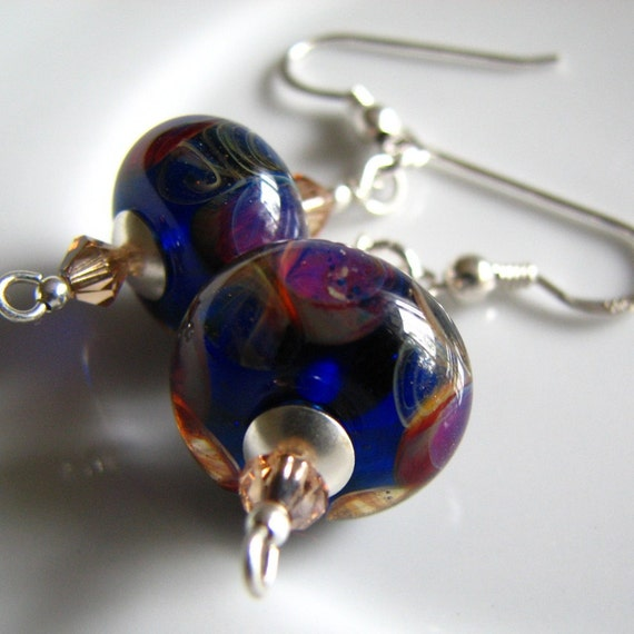 Iris - Purple lampworked earrings, sterling silver, swarovski crystal