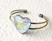 World Traveler Map Heart Shaped Bangle Bracelet - Spain featuring Madrid, Seville, Zaragoza, Barcelona, and Granada