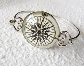 Antique Compass Bangle Bracelet - Choose your design Great Graduation Gift for the grad