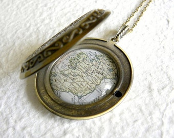 Ireland Map Locket - Featuring Dublin, Cork, Belfast, and more! YOU pick your favorite map from 16 maps!!