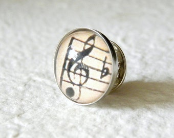 Music Note Tie Tack Tie Pin - Treble Clef, Bass clef, Alto Clef, Beamed Note, and Quaver