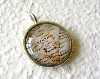 Kenya Map Necklace - Kenya, Africa featuring Nairobi and Mombasa - Great Child Adoption Gift