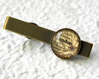London Map Tie Clip - Choose your favorite map from 25 map designs - Antique maps available